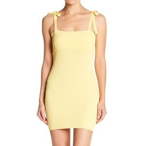 Emory Park Tie Shoulder Yellow Ribbed Dress